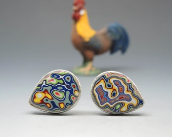 Colorful Fordite Cufflinks in Sterling Silver, Father's day, Graduation