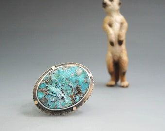 Natural Surface Shattuckite Ring in Sterling with 14kt Gold