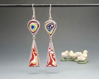 Long, Colorful Fordite Dangle Earrings in Sterling Silver and 14kt Gold