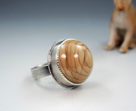 Sterling Silver Handmade Owyhee Jasper High Dome Statement Ring 14kt Gold