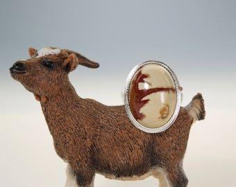 Owyhee Jasper High Dome Statement Ring, Sterling Silver, 14kt Gold, Handmade