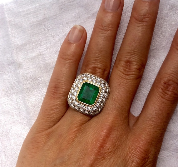 Emerald Cut Green Emerald and Pave Diamond Filigre