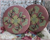 Pair of round needlepoint pillow with down inserts Beautiful rose colored wool quality