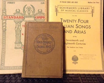 Music, Antique Music Books, 1890 to 1920's 3 Books Full for Mixed Media,Junk Journaling, Card Making, Crafting, Furniture