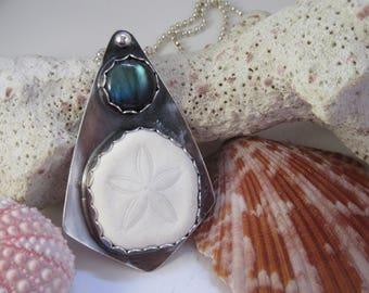 Sandollar and Labradorite Silver Pendant To The Beach To Dream OOAK Summer Memories