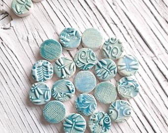 Mosaic Tiles Dragonflies Spirals Vines 24 Pieces Tiny Flat Disks