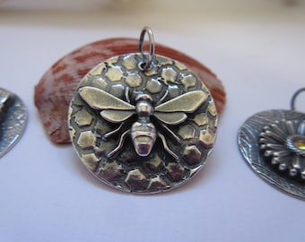 Bee Pendant 999 Fine Silver Jewelry OOAK by Leaping Frog Designs