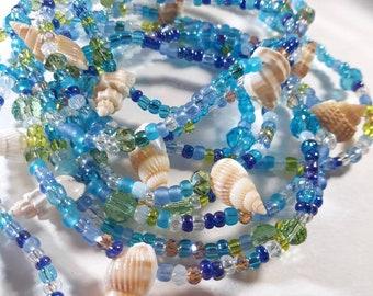 Seashell Crystal Bead Garland Beachy Home Decor Mermaid Christmas Tree Weddings Scrumptious 6 Ft Long