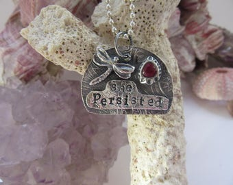 She Persisted Fine Silver and Sapphire Charm Pendant Gifts for Her OOAK by Leaping Frog Designs