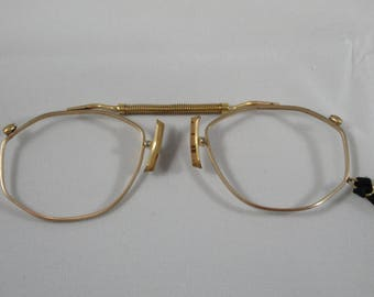 Antique Gold Pince-Nez Eyeglass Frames with Cork Nose Pads
