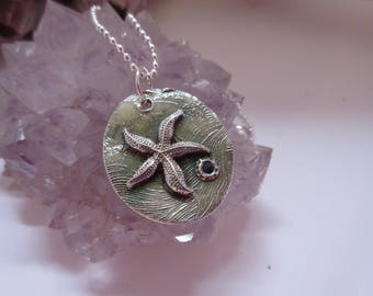 Mother's Day Jewelry Tidepool Treasure Sea Star and Sapphire Pendant Necklace 999 Fine Silver Beach Jewelry