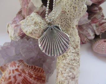 Silver Scallop Shell Beach Jewelry Petite Sea Shell Penant Charm Gits for Her OOAK by Leaping Frog Designs