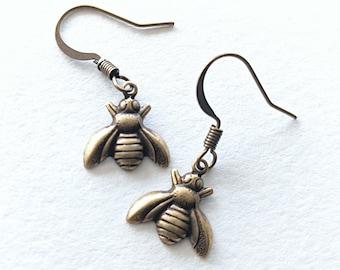 Bronze Bee Earrings Honeybee Bee Collector Earrings Bee Hive Earrings Glass Cabochon Earrings Honeybee Earrings Queen Bee Earrings