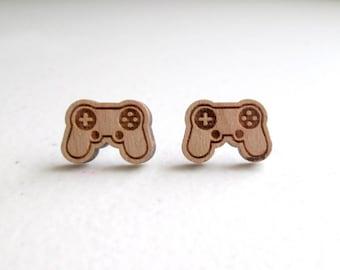 Wooden Controller Earrings / Gamer Earrings / Wooden Earrings / Game Earrings / XBOX Earrings / Gamer Gift / Controller Earrings / PS4 Game