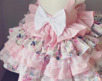 0e0a9d7a29 Girls Pink Ruffle Dress, Toddler Floral Party Dress, Baby Birthday Dress,  Fancy Girls Dress
