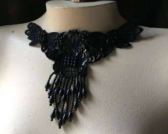 3 BLACK Beaded Lace Applique with fringe  for Lyrical Dance, Ballet, Garments, Costumes  BLA  398