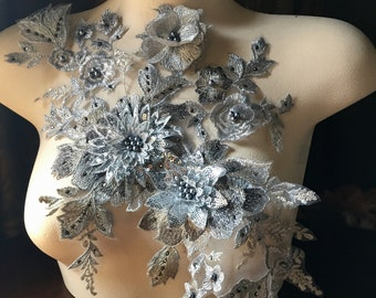 NEW SILVER 3D Applique #1 , Beaded for GRAD, Lyrical Dance, Ballet, Couture Gowns F