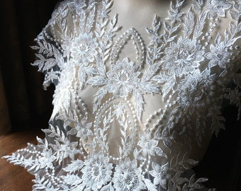 OFF WHITE Applique LONG Beaded for Illusion Gowns, Lyrical Dance, Ballet, Costumes