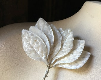 IVORY Velvet Leaves 12 Vintage Japanese SMALL Size for Bridal, Boutonnieres, Headpieces, Bouquets, Wreaths, Crowns