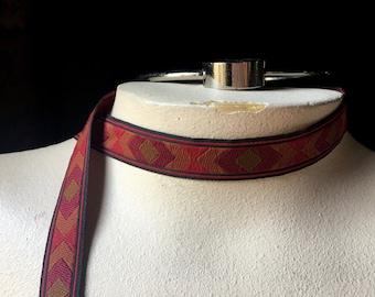 2 yds. Red, Green & Gold  Jacquard Ribbon Trim for Reenactment Costumes, Tribal Fusion, Bellydance, Garments, Headbands TR 280
