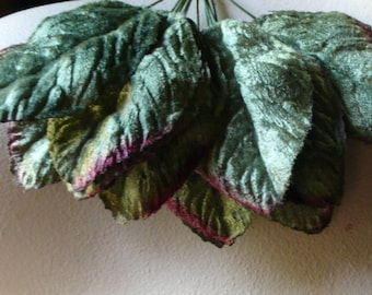 12 Green Leaves Velvet Leaves for  Bridal, Corsages, Bouquets, Scrapbooking, Hats ML 93