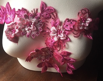 Pink Lime Cerise 1 x  3D Embroidery  Butterfly Motifs Applique  White