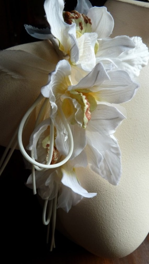 Orchid silk flowers millinery cymbidium orchids for bridal etsy mightylinksfo