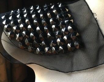 STUDDED BLACK Net Applique for Epaulettes, Garments, Costume Design CA