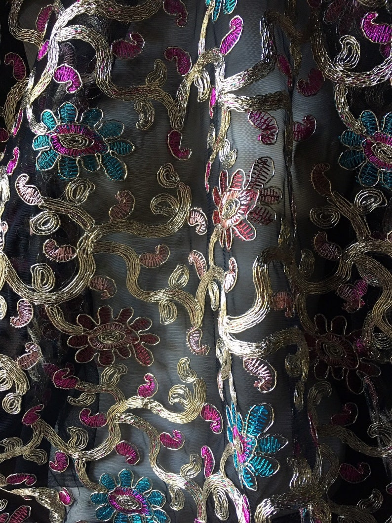 Turquoise /& Gold Fabric #2 Embroidered for Bollywood Costumes Garments Pink