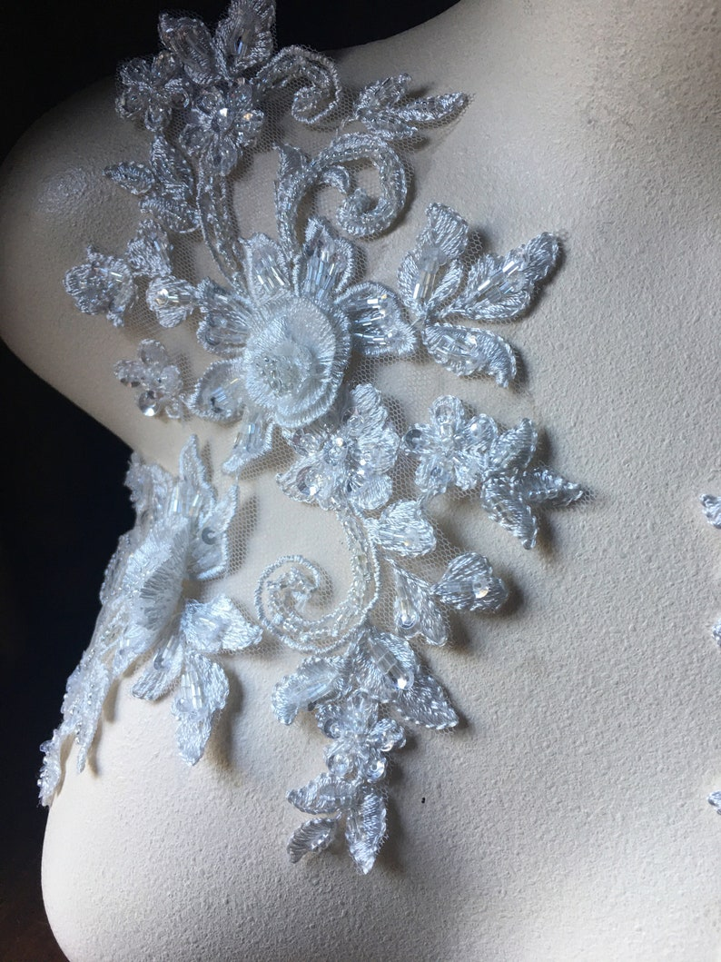 Ballet Couture Gowns F105 WHITE Applique PAIR Beaded Alencon Lace for Lyrical Dance