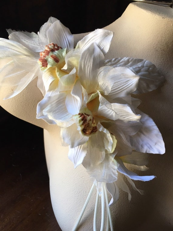 Orchid Silk Flowers Millinery Cymbidium Orchids For Bridal Etsy