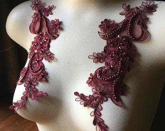 Burgundy Applique Beaded Lace Pair for Lyrical Dance, Ballroom Dance, Bridal, Headbands PR 114burg