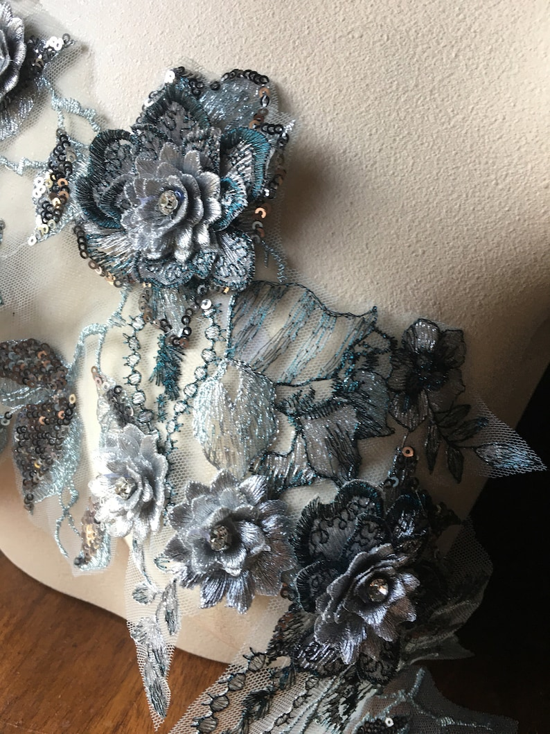 Beaded and Embroidered for Lyrical Dance Couture Gowns F44-3 Ballet Silver Teal 3D Applique #3
