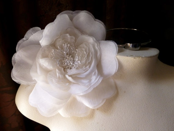 Sale white silk millinery flower for bridal hats couture etsy image 0 mightylinksfo