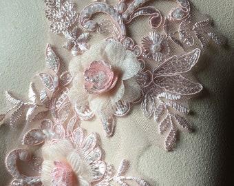 BLUSH PINK Beaded Applique for Lyrical Dance, Bridal, Ballet, Headbands, Garments CA 963