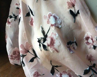 "REMNANT - 24"" Pink Burnout Velvet Fabric for Dresses, Blouses"