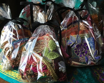 Boho Grab Bag Kit for Junk Journals, Snippet Rolls, Slow Stitching MYSTERY BAG