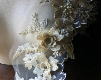 """Ivory 3D Lace Border 18"""" , Beaded and Embroidered for Bridal, Lyrical Dance, Ballet, Couture Gowns, Costume Design F5 trim"""