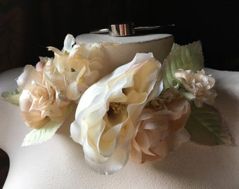 PEACH Rose Millinery Corsage  for Cottage Core Bridal, Hats, Costumes MFKG