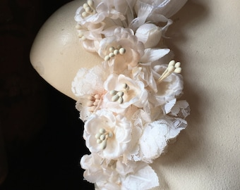 BLUSH Rose Millinery Corsage for Cottage Core Bridal, Hats, Costumes MFKG