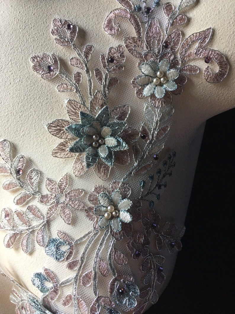 Ballet Copper /& Blue 3D Applique #2 Beaded and Embroidered for Lyrical Dance Couture Gowns F78-2