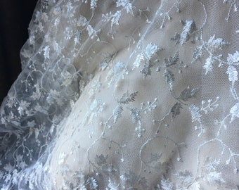 IVORY Lace Fabric Embroidered for Blouses, Dresses, Gowns, Veils, Blessing, Baptism, Christening Gowns