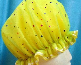 SHOWER CAP Yellow Glitzy  Multi Colored Spots Size M/L