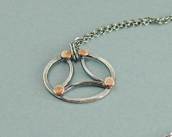 Dark Silver Circle Pendant with Copper Accents, Modern Artisan Jewellery in Art Deco Style, Mixed Metal Necklace