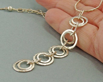 Sterling Silver Long Linked Circles Pendant, Kinetic Geometric Jewellery