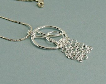 Sterling Silver Circle Pendant with Chain Fringe, Art Deco Style Contemporary Jewellery, Elegant Unusual Necklace