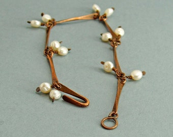 Bar Link Bracelet in Copper with White Freshwater Pearl Dangles, Simple Rustic Patina Jewellery