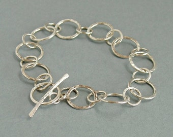Circle Link Toggle Bracelet in Sterling Silver, Simple Basic Everyday Jewellery