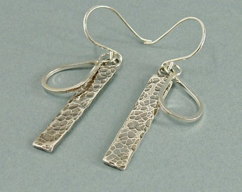 Bar and Teardrop Earrings in Sterling Silver, Hammered Long Drops, Layered Jewellery