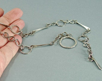Mixed Link Toggle Necklace in Oxidised Sterling Silver, Rustic Hammered Jewellery for Everday Wear